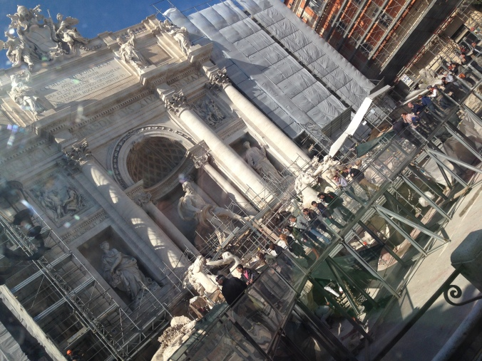Awful construction at the Trevi Fountain