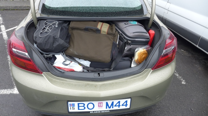 Our slightly full trunk/boot, strategically packed every morning!