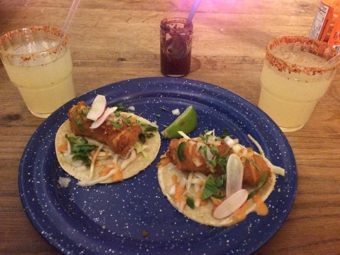 Fish tacos and margaritas at Candelaria