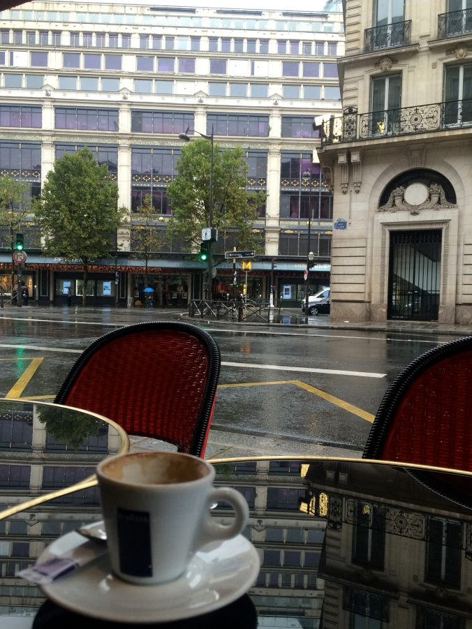 Noisette (espresso with milk froth) on a rainy day